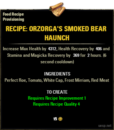 Smoked bear haunch perfect roe elder scrolls online item 71063 1 5g forumfinder Choice Image